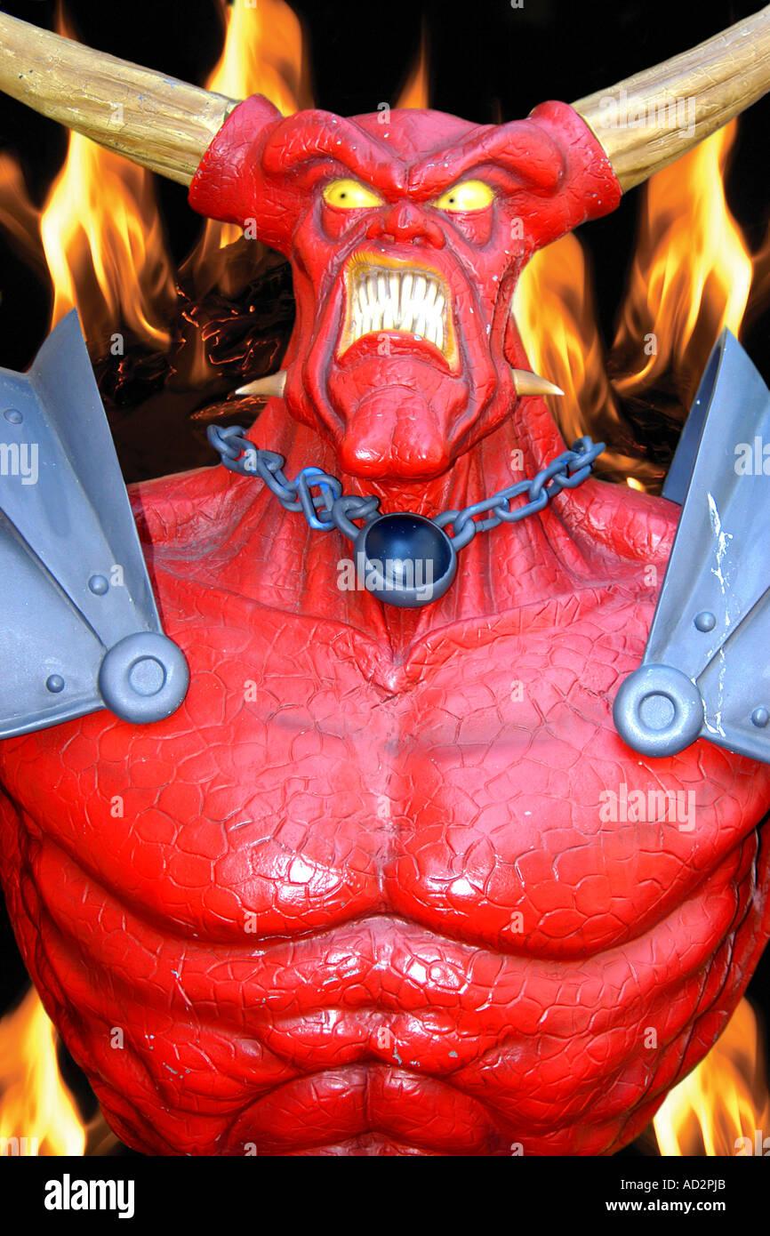 The Demon Devil Satan outside a Tattoo Palor - Stock Image