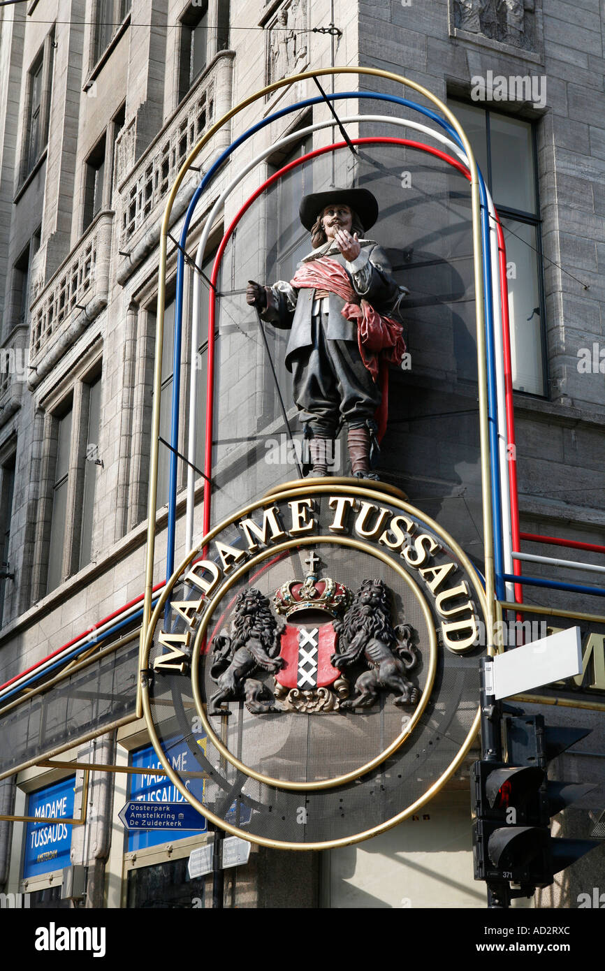 Madame Tussaud museum on Dam Square in Amsterdam, The Netherlands - Stock Image