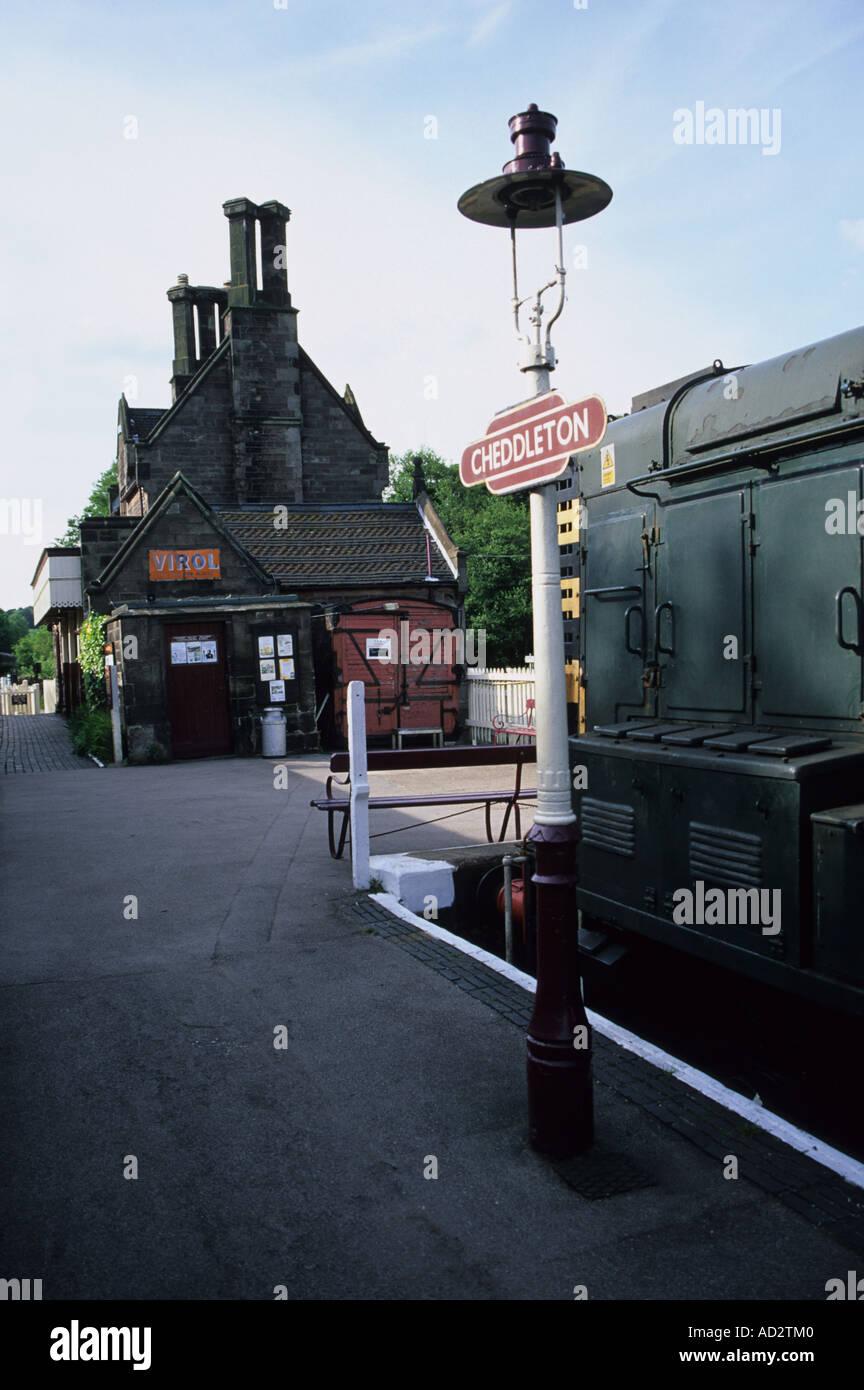 Platform At Cheddleton Railway Station - Stock Image