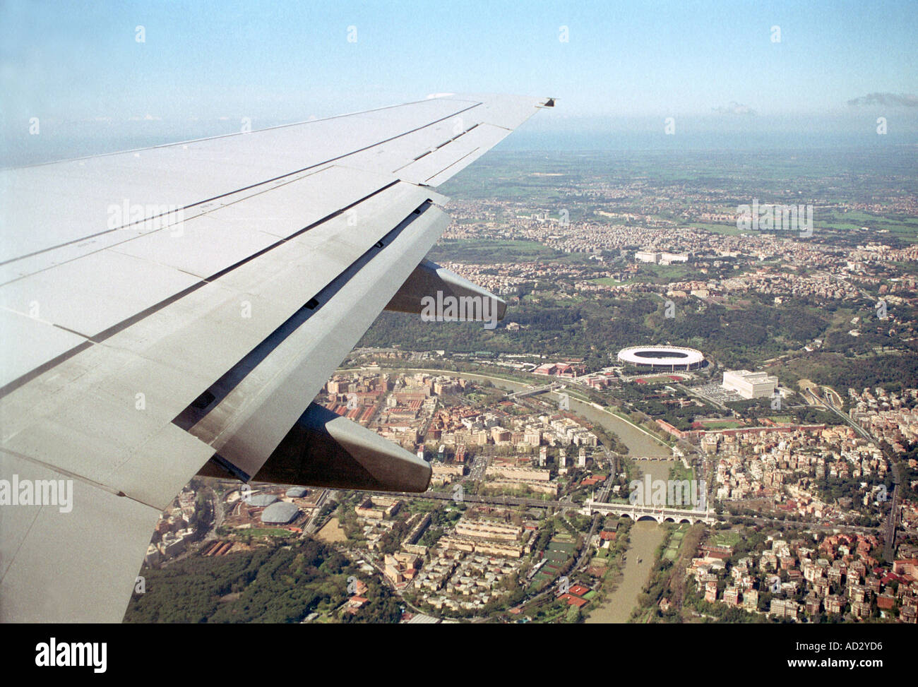 Aerial View Of Wing And Olympic Stadium Rome From Plane