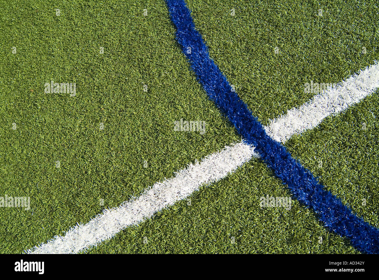 Football Soccer Field Detail Of Lines On Turf Grass, USA - Stock Image