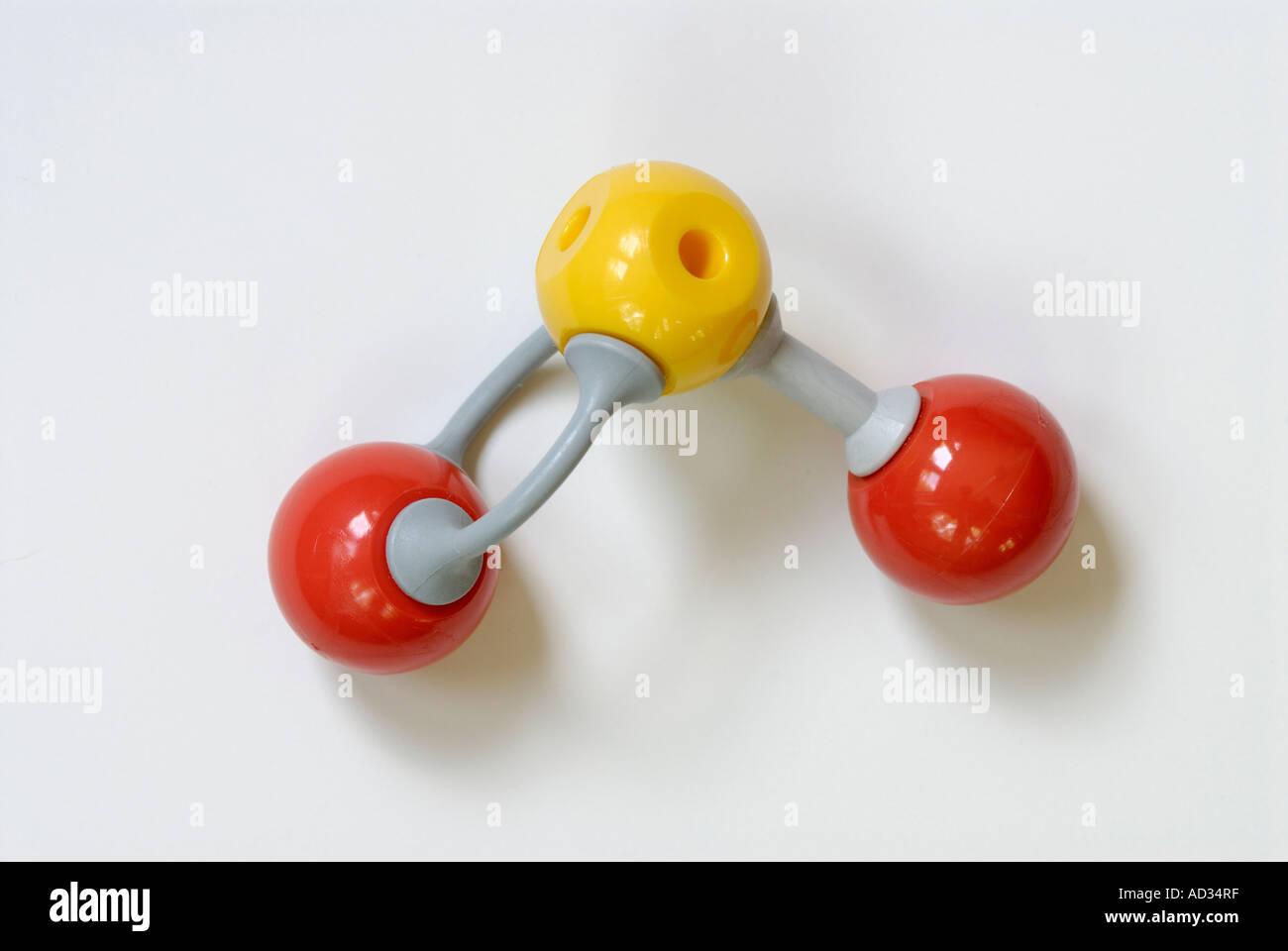 Sulfur dioxide molecular model - Stock Image
