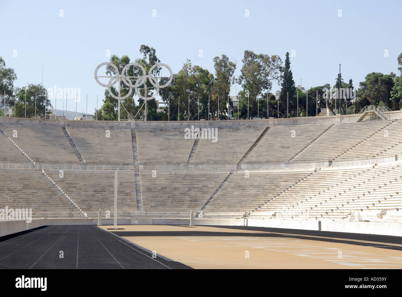 Athens the Panathinaiko white marble arena and track location for the Greek Olympic Games of 1896 now a major tourist Stock Photo