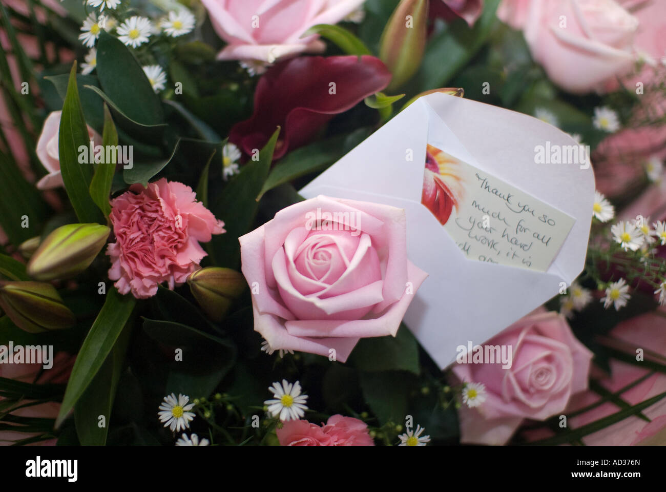 Thank You For For Your Hard Work Flowers With Thank You Card