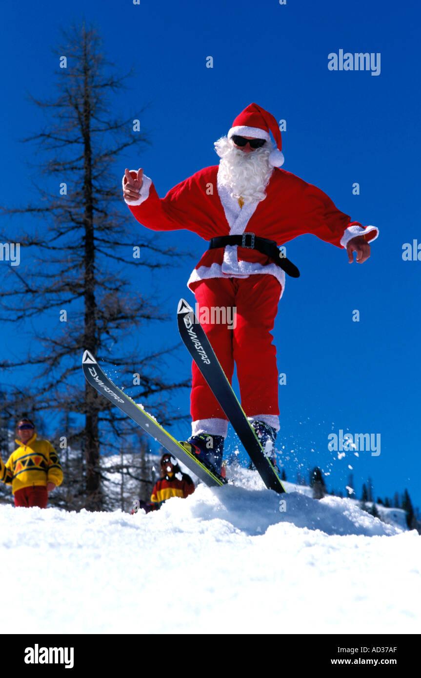 Father Christmas on skis - Stock Image
