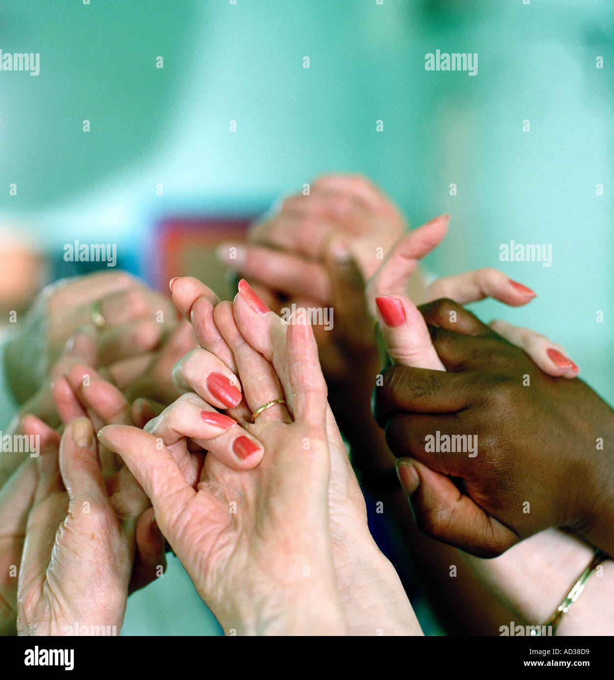 old joined hands - Stock Image