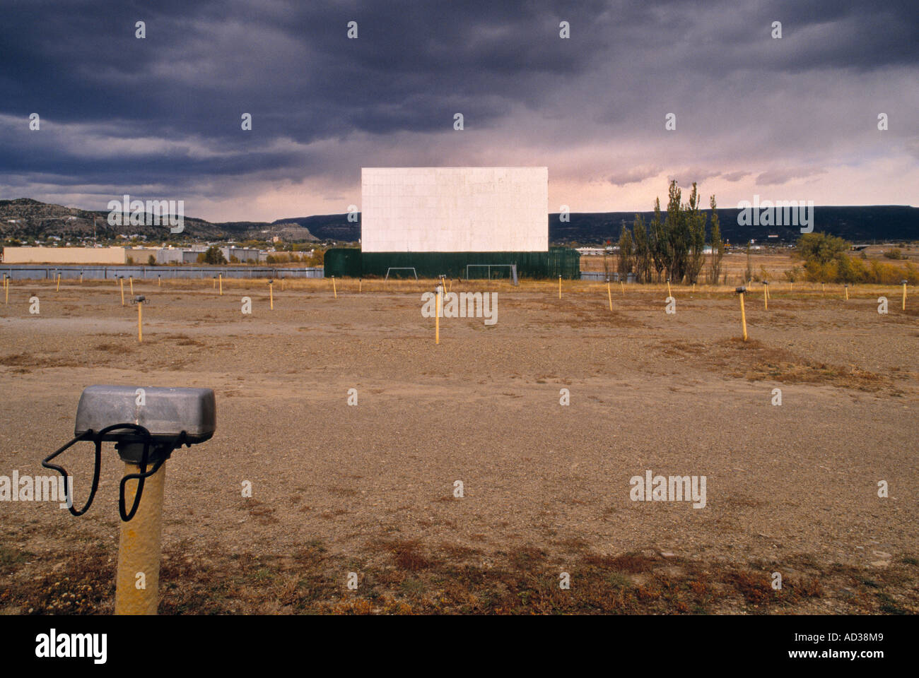 An Old Drive In Movie Theater With Stormy Skies In The Background Stock Photo Alamy