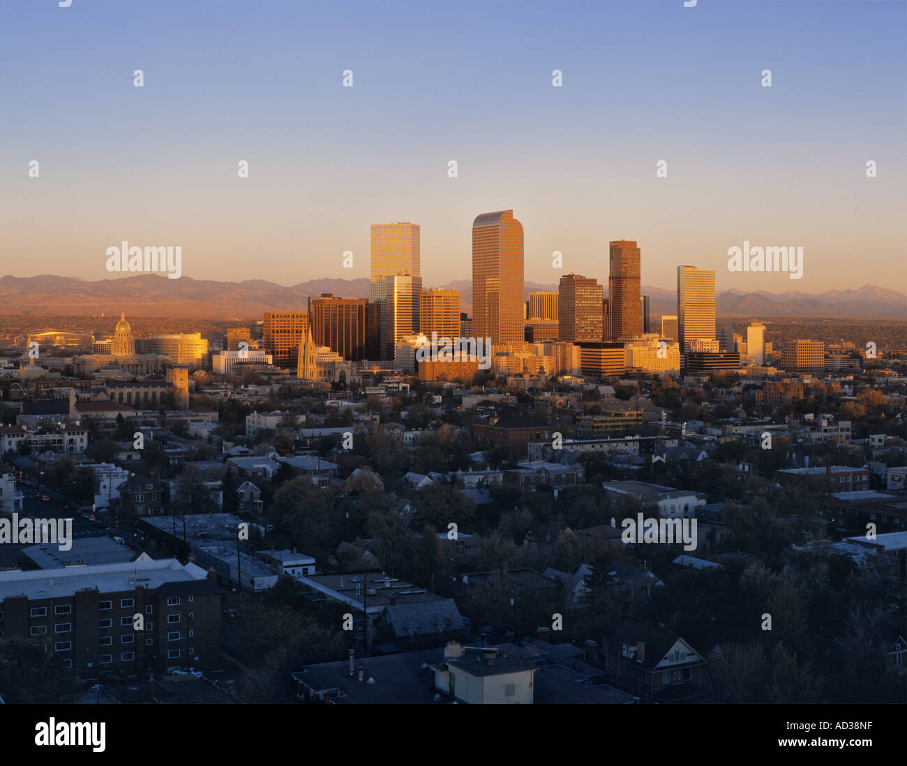 Denver Skyline And Mountains Stock Photos & Denver Skyline