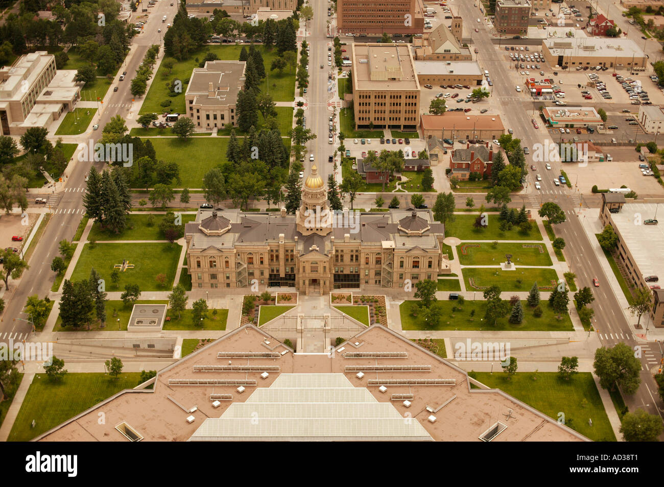 Aerial of state capitol building in Cheyenne, Wyoming, USA