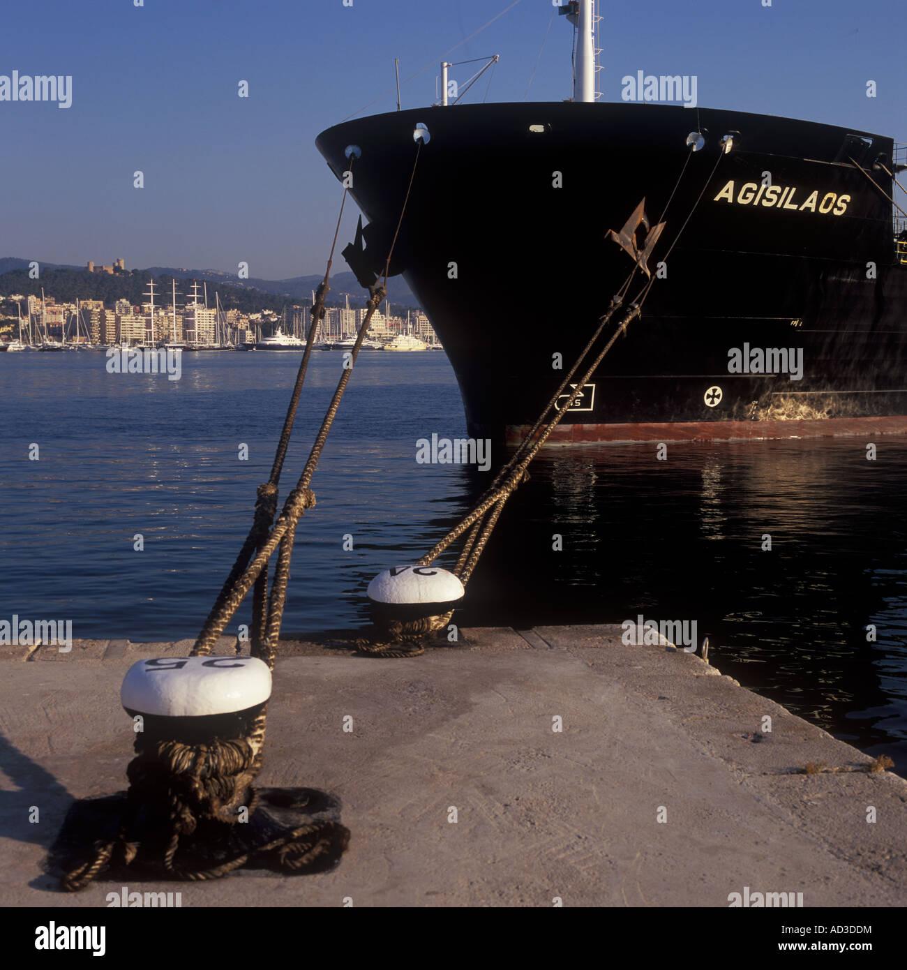 "Early morning image of Petroleum Product Carrier ""AGISLAOS"" discharging cargo, Port of Palma de Mallorca. Stock Photo"