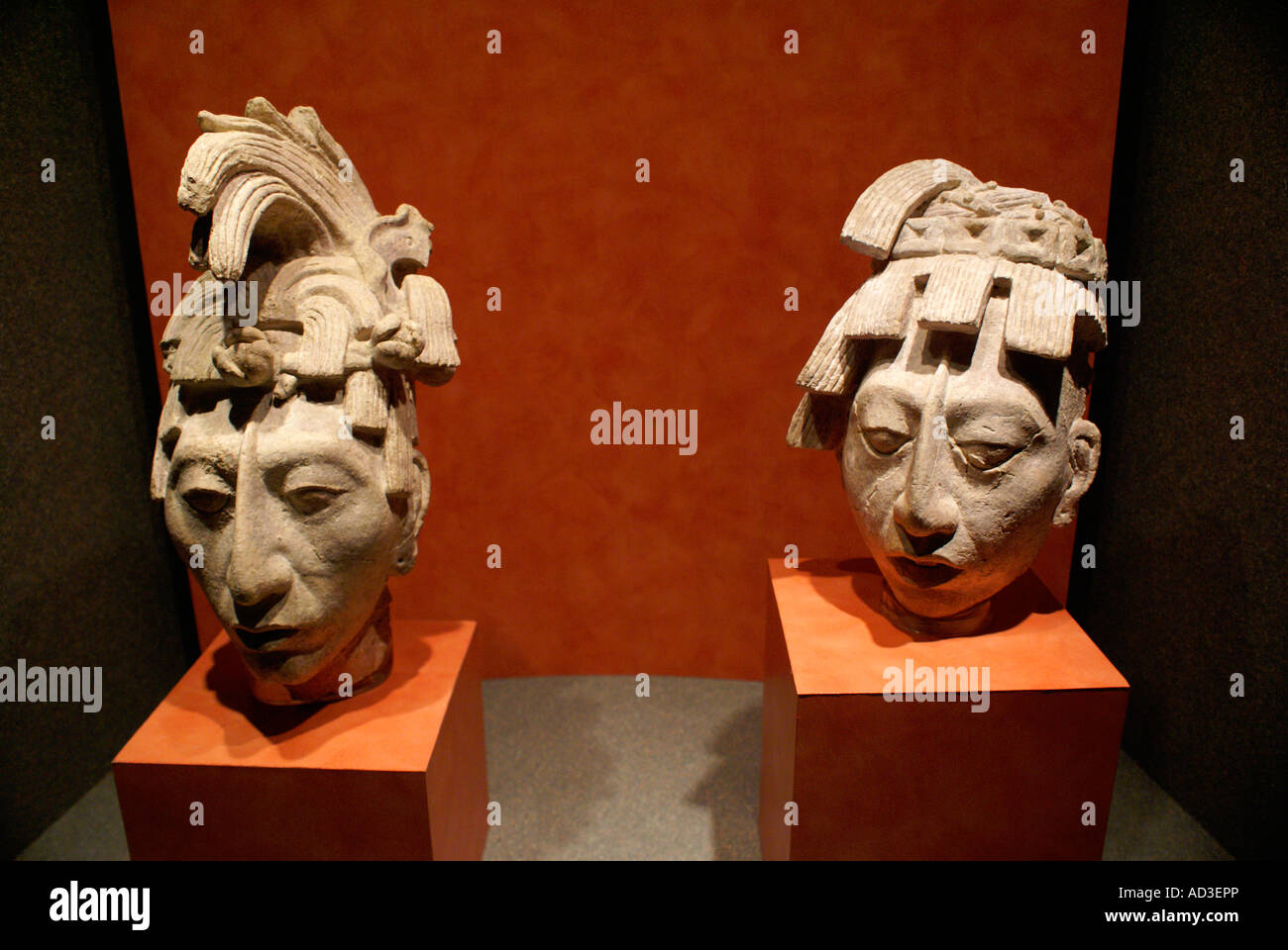 Mayan stucco heads of Lord Pakal from Palenque, Mexico, National Museum of Anthropology, Mexico City. - Stock Image