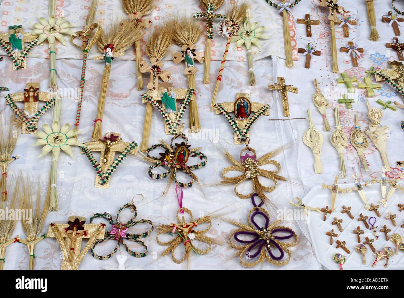 Palm Sunday crosses for sale during Semana Santa, Mexico City - Stock Image