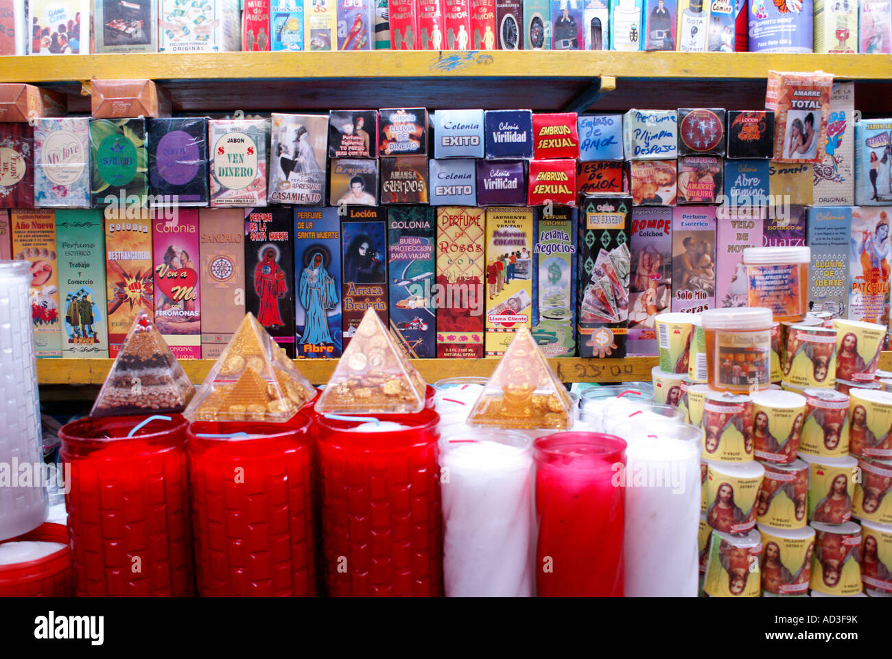 Candles and magical potions for sale in the market, city of