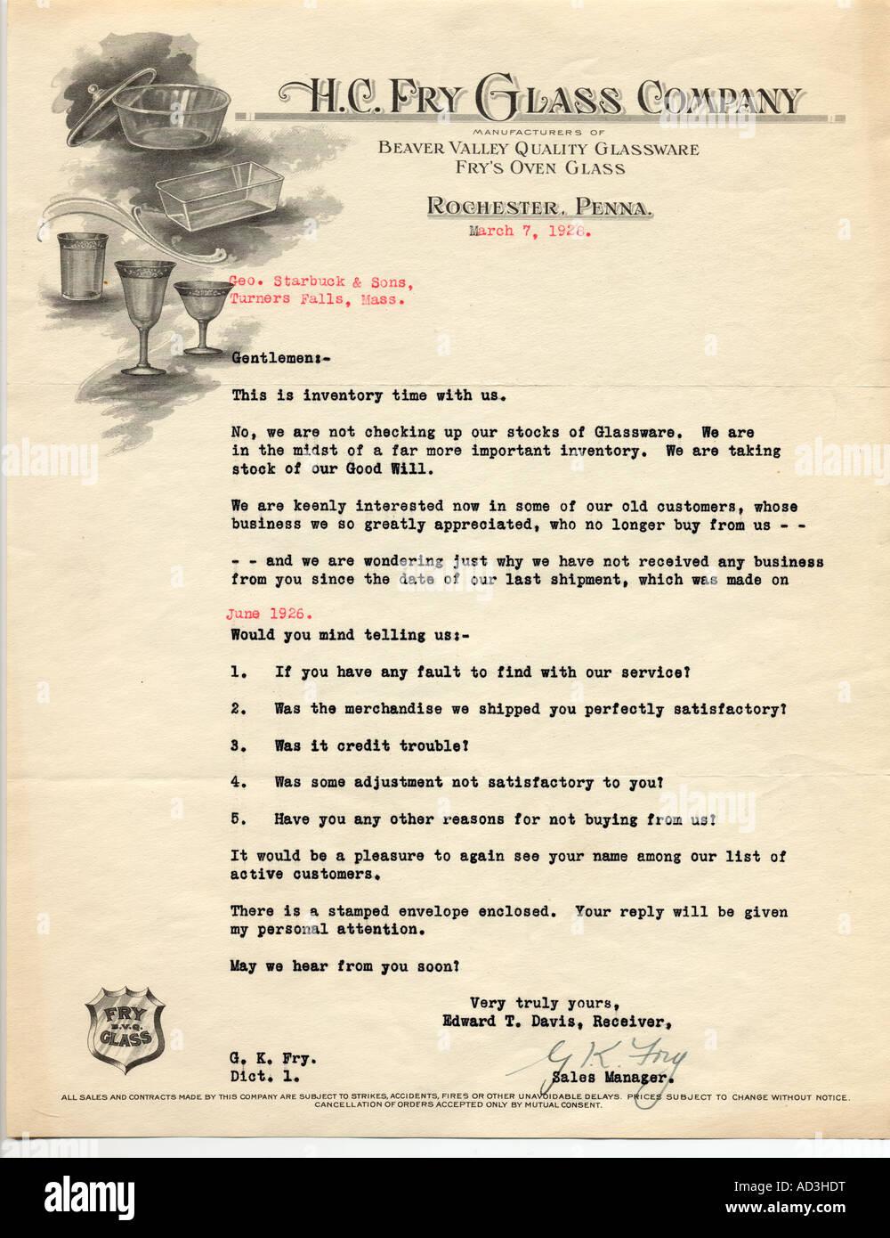 1928 hc fry glass company customer retention letter stock photo 1928 hc fry glass company customer retention letter spiritdancerdesigns Gallery