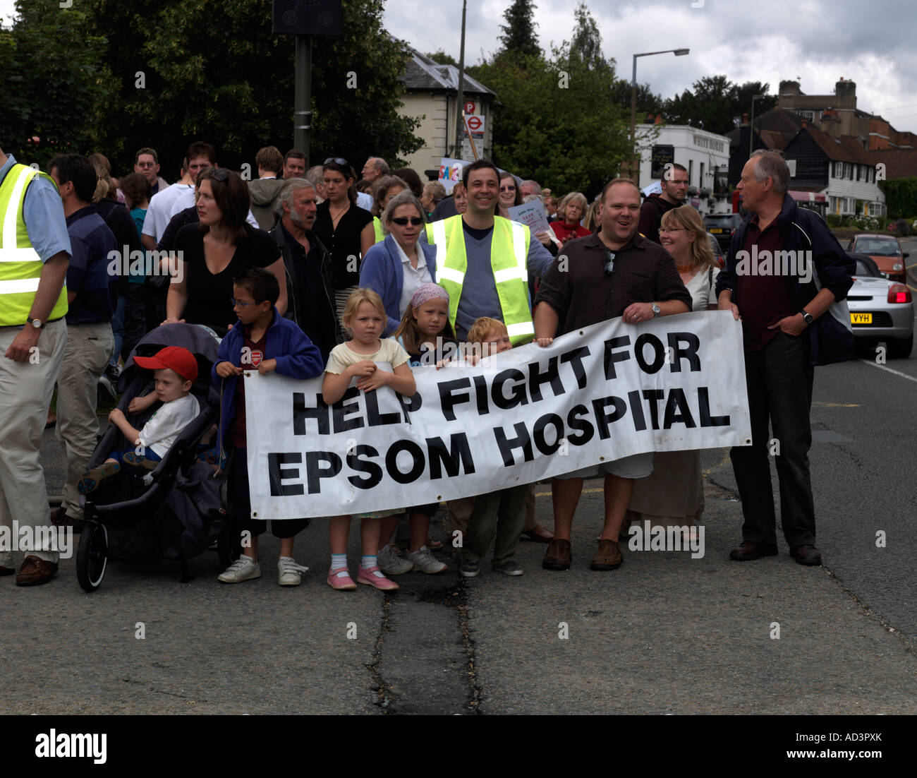 Protestors Outside Epsom District Hospital Over the Proposed Closure of the Maternity and Neonatal Departments - Stock Image