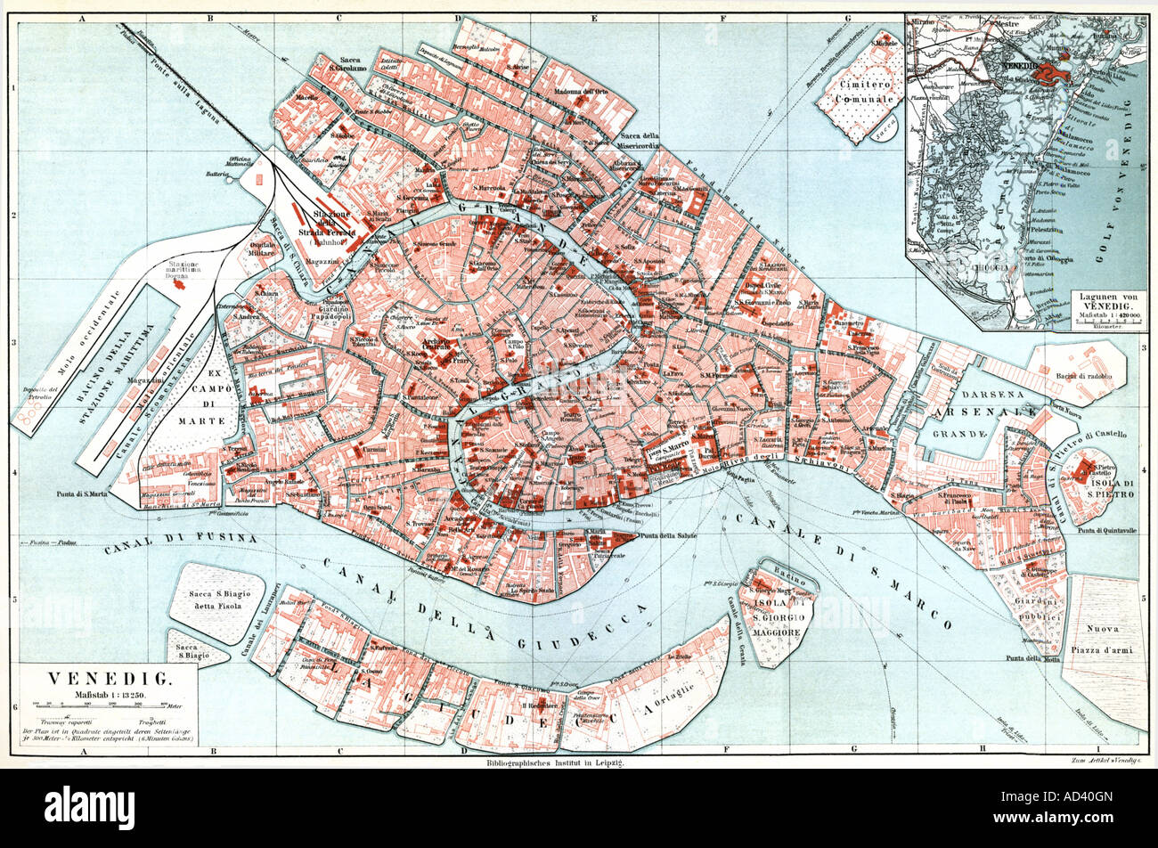 cartography, city maps, Italy, Venice, Meyers Konversationslexikon, 1897, Additional-Rights-Clearances-NA - Stock Image