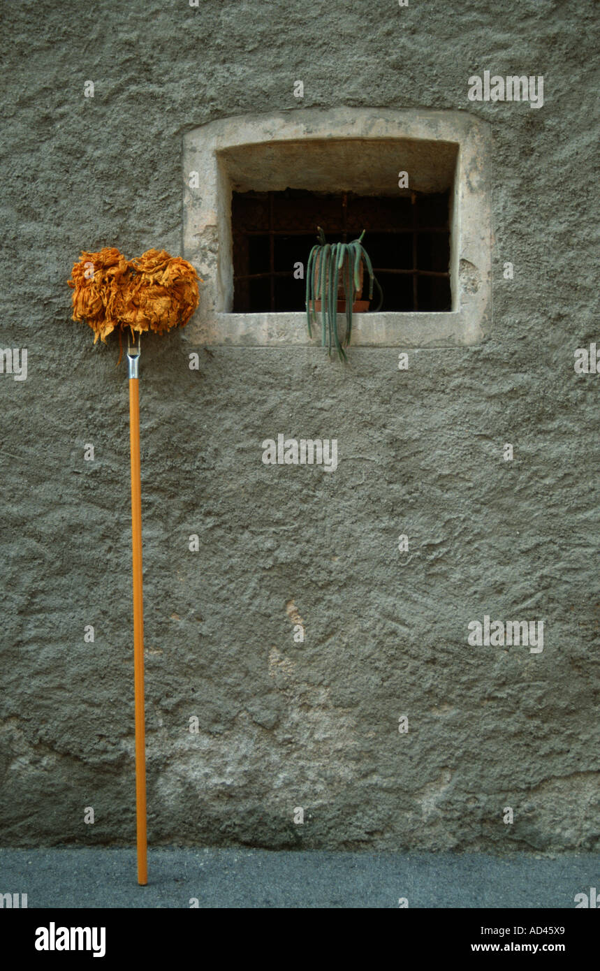 sweeper clean mop still life funny humor humour - Stock Image