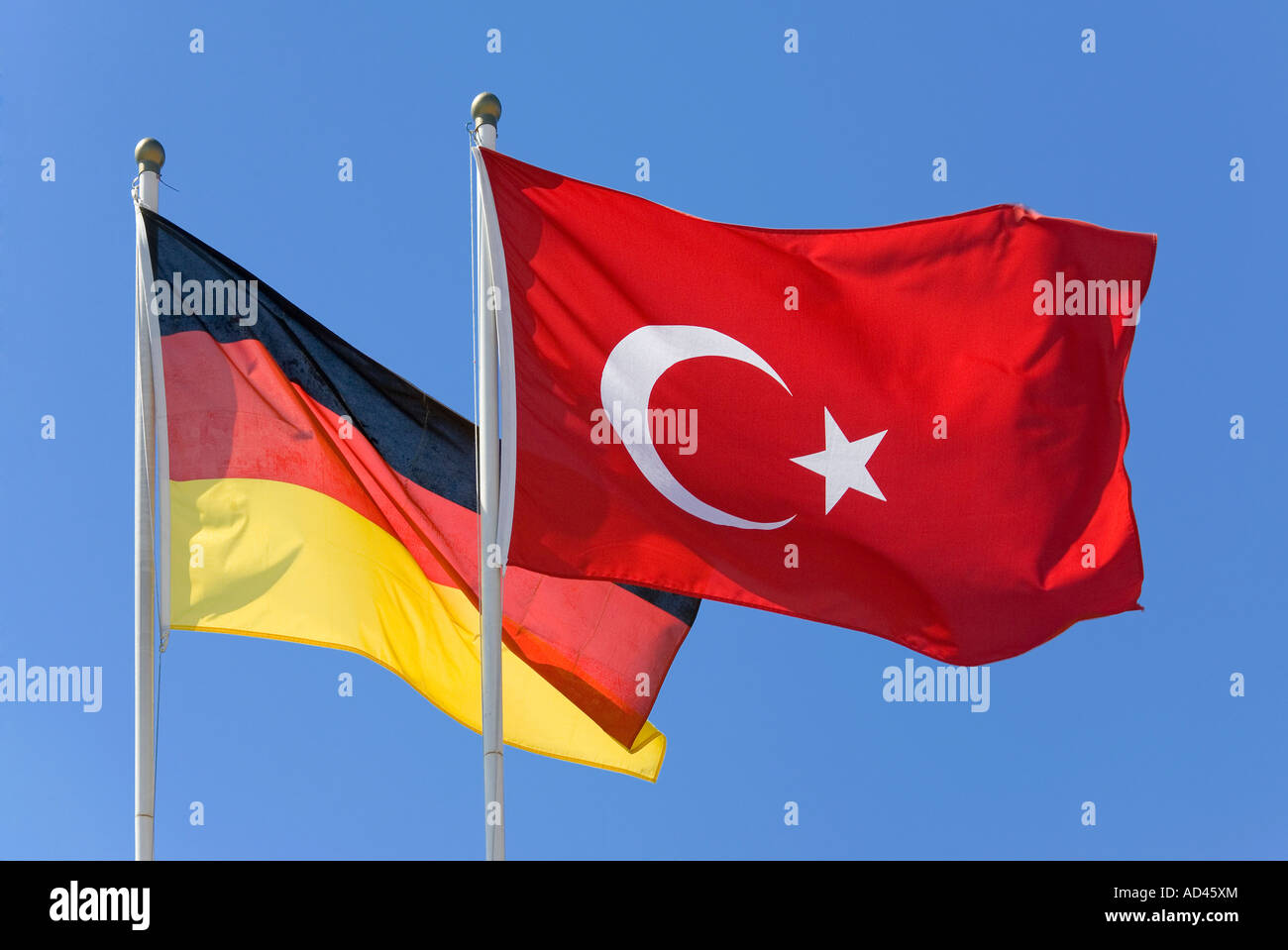A Turkish and a German flag - Stock Image