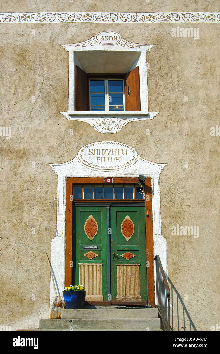 Typical Engadine house with window and door, Samedan, Engadin, Grisons, Switzerland Stock Photo