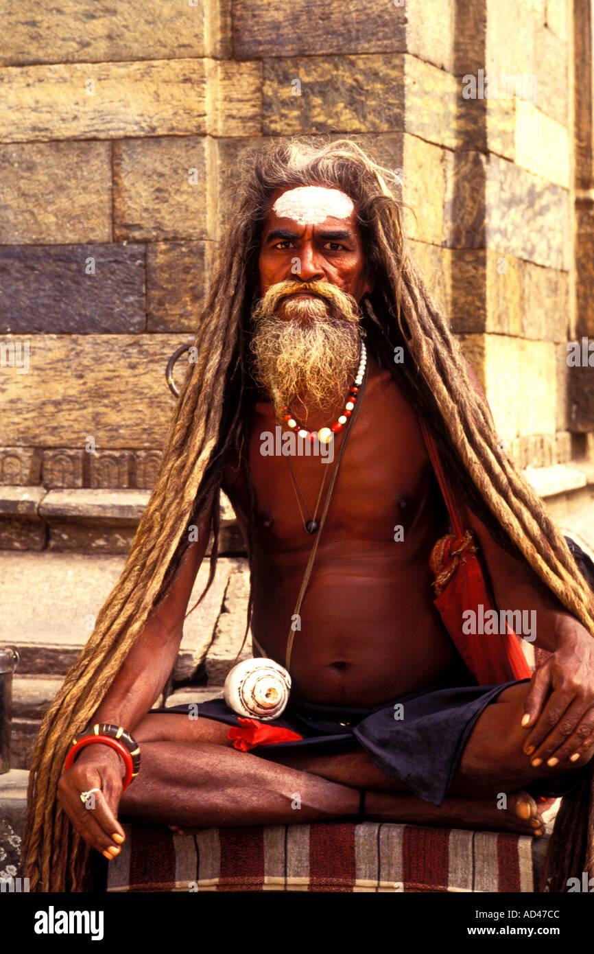 Religious man in Katmandu Nepal - Stock Image