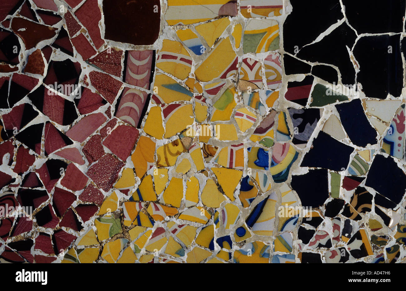 colourful gaudi details mosaic guell park barcelona - Stock Image