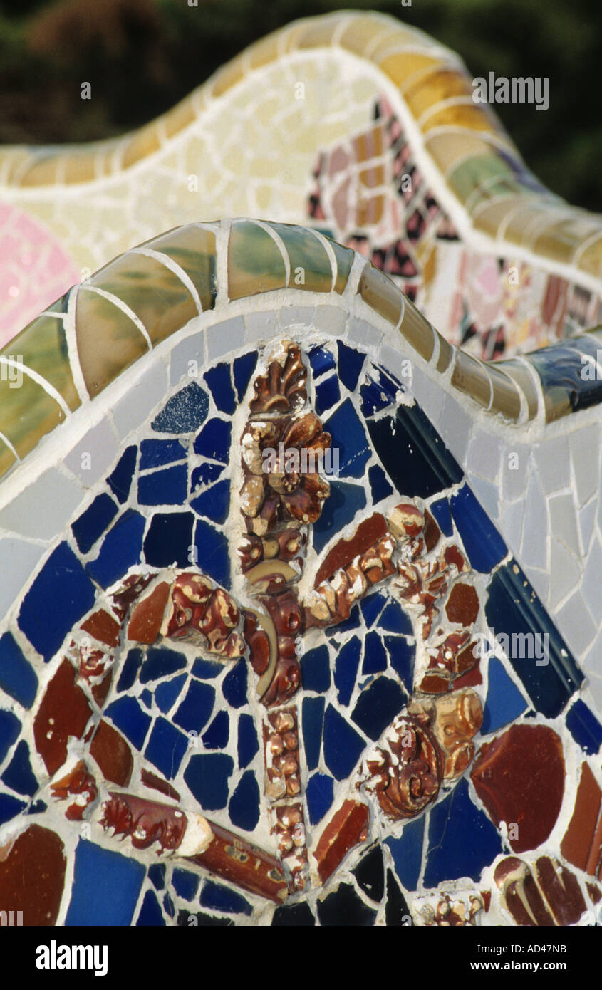 barcelona design gaudi architecture guell park vertical - Stock Image