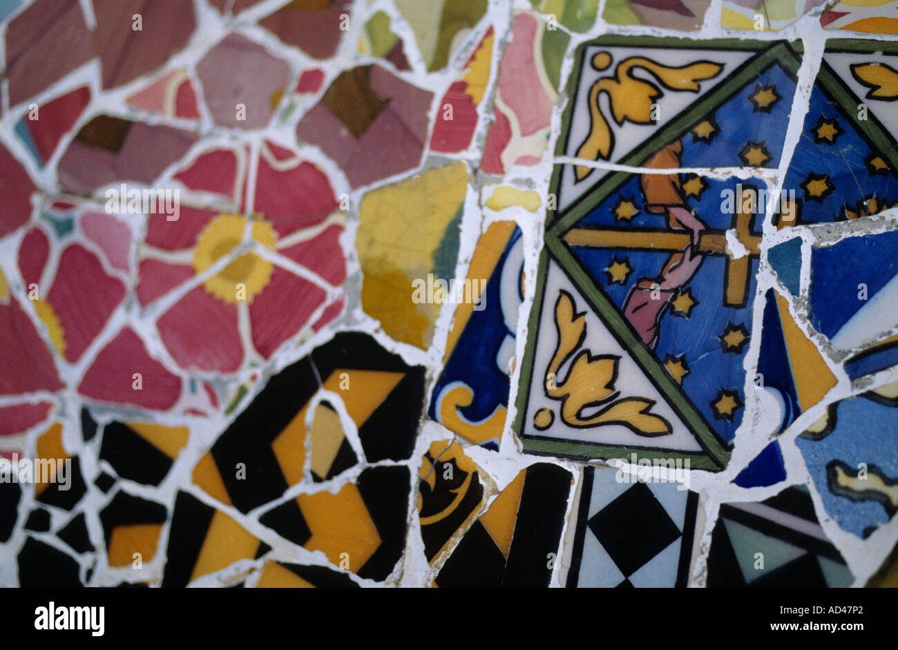 barcelona architecture detail guell park gaudi mosaic - Stock Image