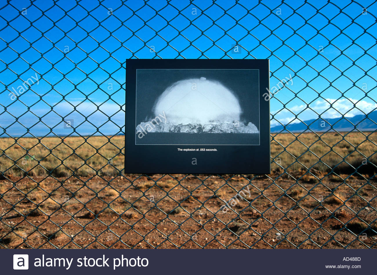 Ground Zero at the trinity site showing an image of the worlds first Nuclear explosion - Stock Image