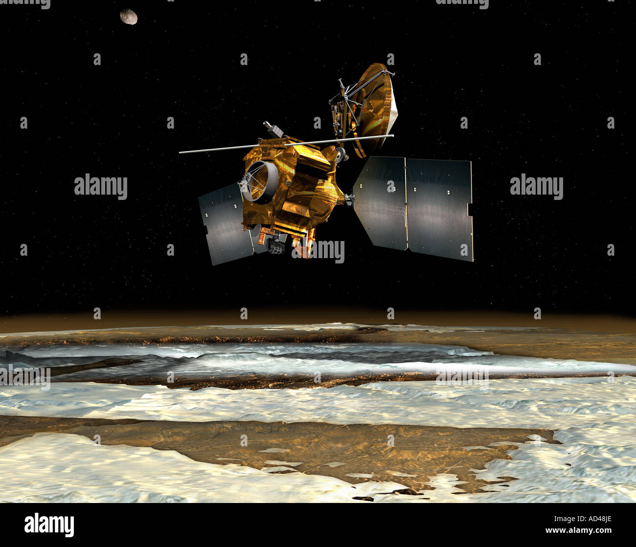 Artists Rendition of the Mars Reconnaissance Orbiter as it orbits over the martian poles Stock Photo