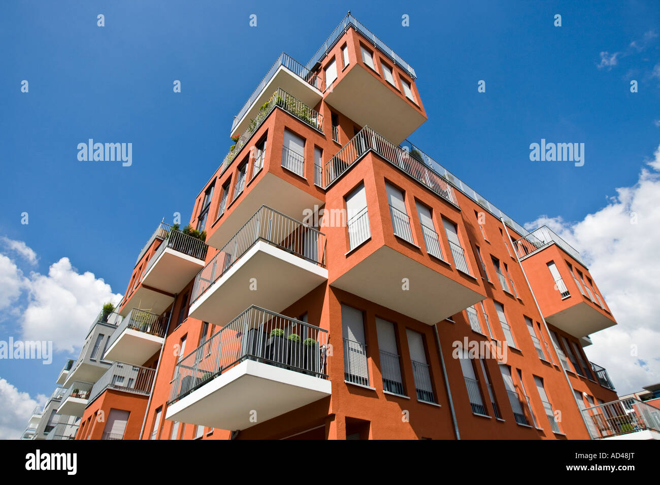 New luxurious owner-occupied flats in the west harbour, Frankfurt, Hesse, Germany. - Stock Image