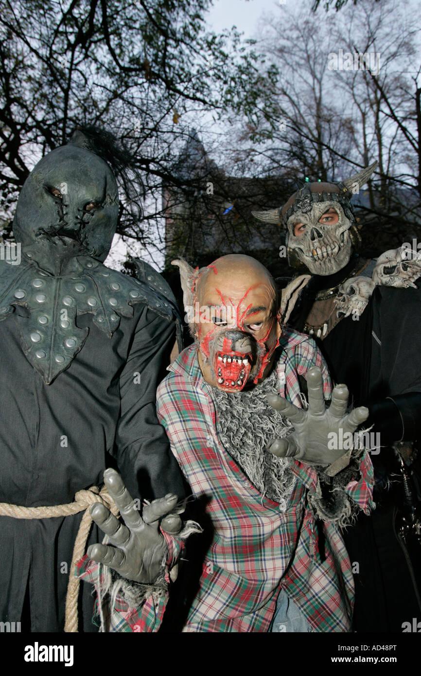 At Halloween a monster in the castle Frankenstein, Hessen, Germany - Stock Image