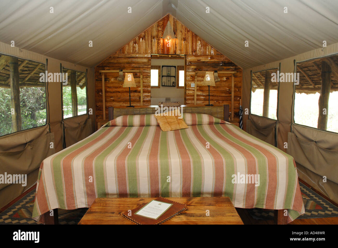 Guest marquee, Tortilis Camp, Amboseli National Park, Kenya, Africa Stock Photo