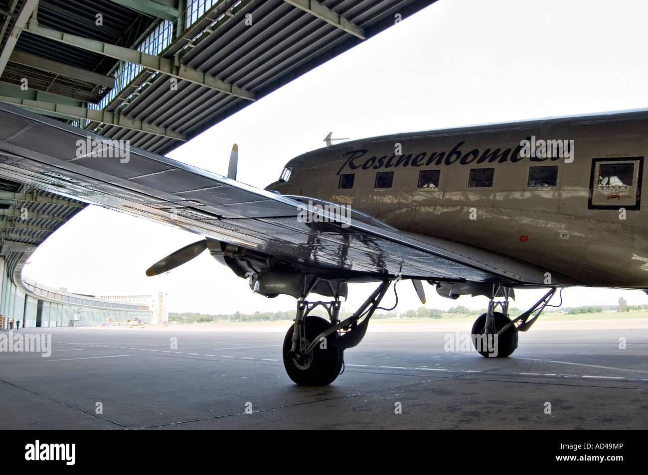 Douglas DC-3/C-47 aircraft, 'Raisin Bomber', Tempelhof airport, Berlin - Stock Image
