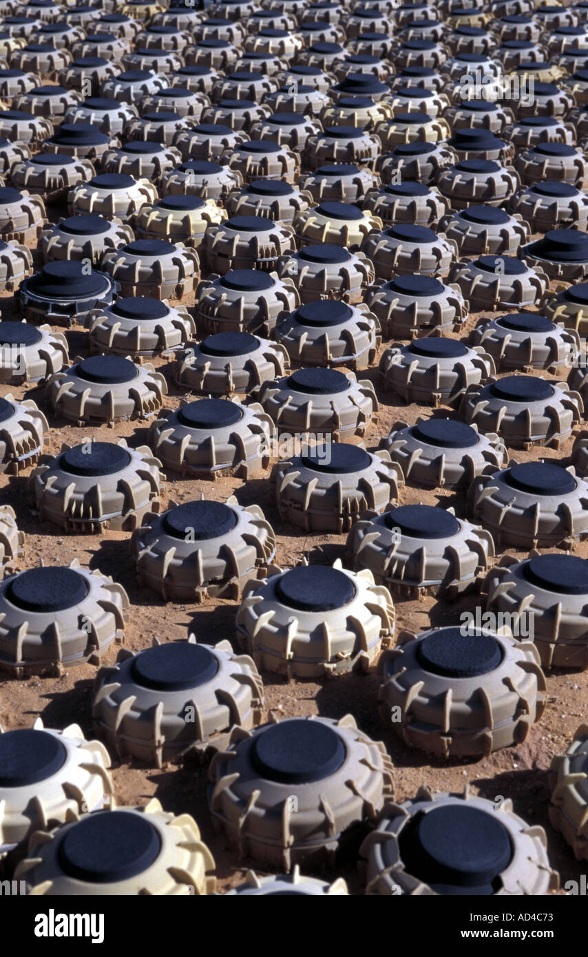 WESTERN SAHARA LANDMINES CAPTURED FROM THE MORROCAN ARMY DISPLAYED AT POLISARIO MILITARY MUSEUM - Stock Image