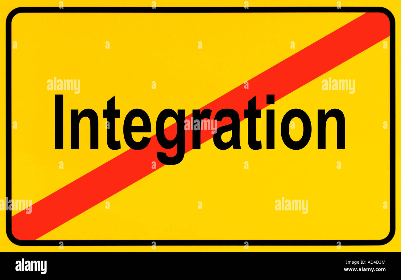 German city limits sign symbolising end of integration - Stock Image