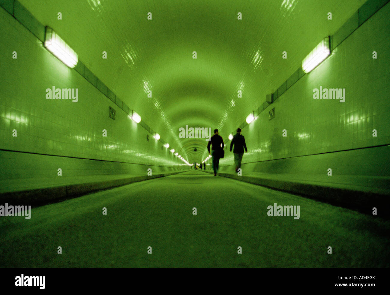 An illuminated tunnel - Stock Image