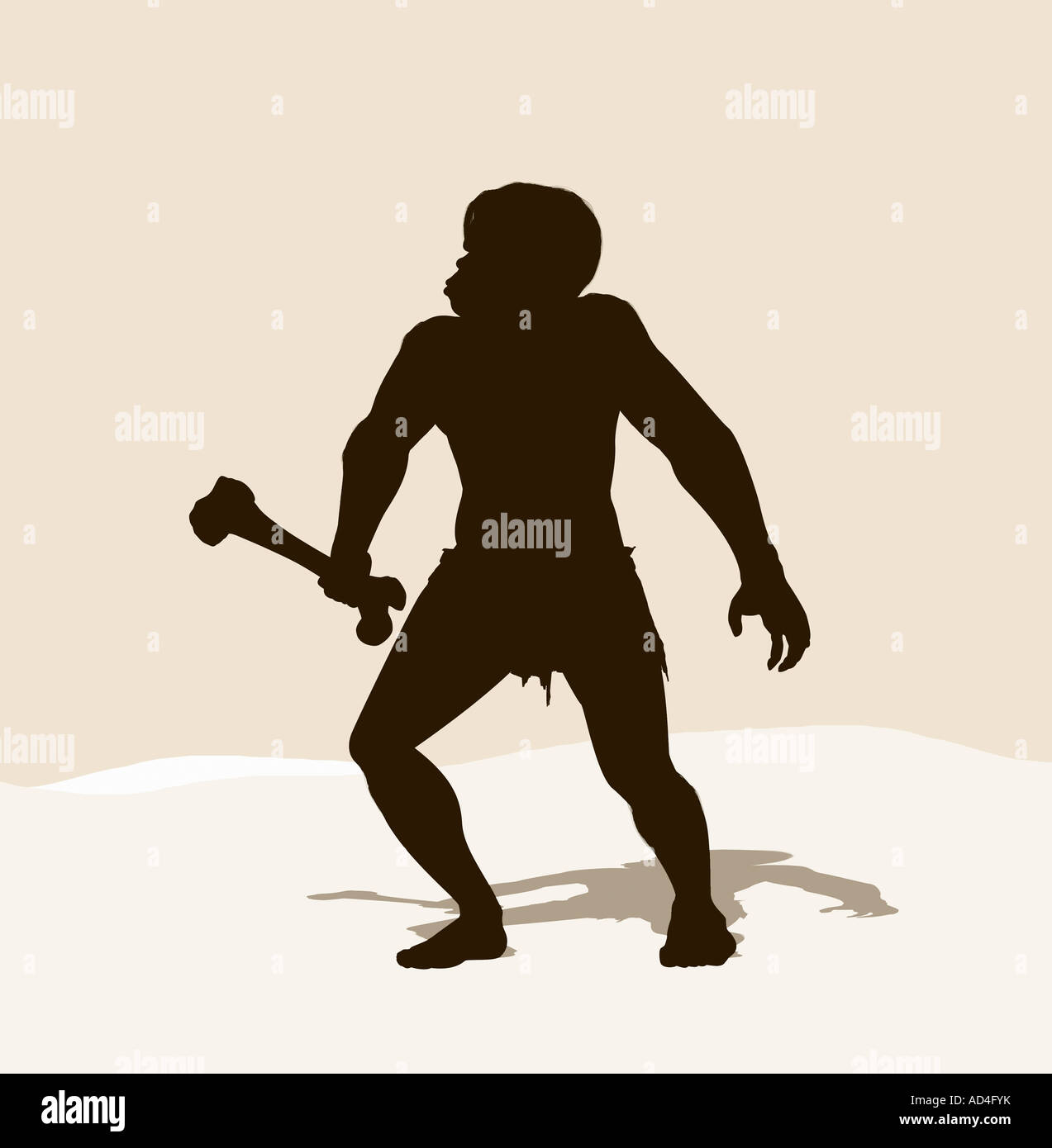 A caveman holding a bone - Stock Image