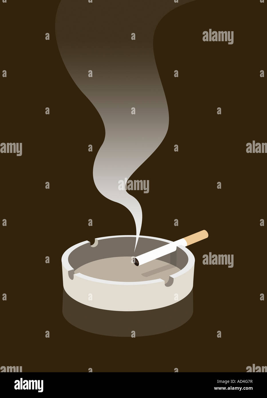 A cigarette burning in an ashtray - Stock Image