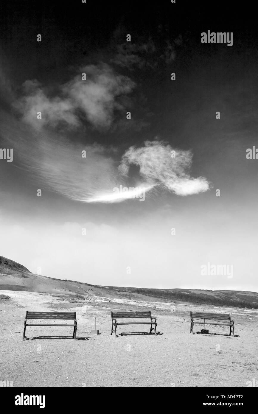 Three benches at Geysir Iceland 1_bw - Stock Image