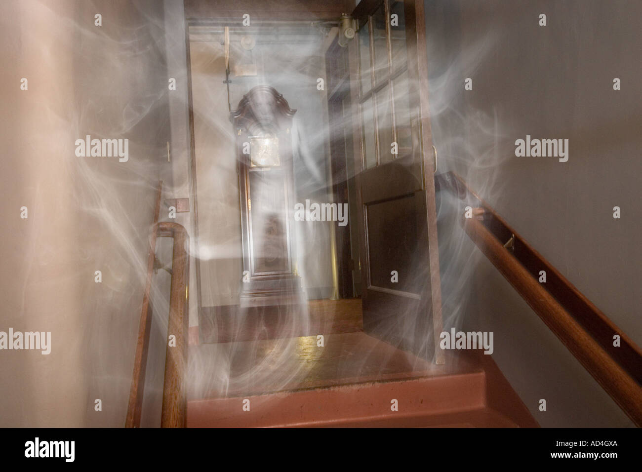 Full-Body Ghost apparition forming from mist - Stock Image