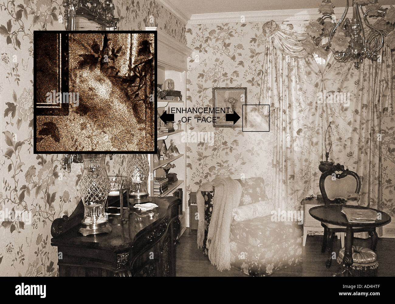 Seated Ghost in Parlor (Enhanced) - Stock Image