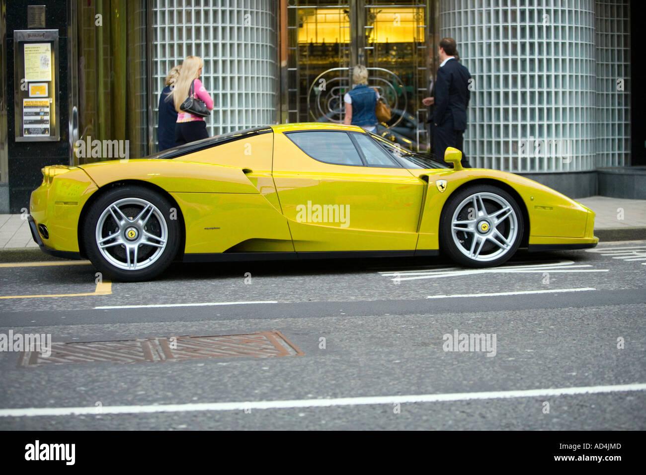 Yellow Ferrari Enzo Parked Outside Restaurant In Leeds Stock Photo Alamy
