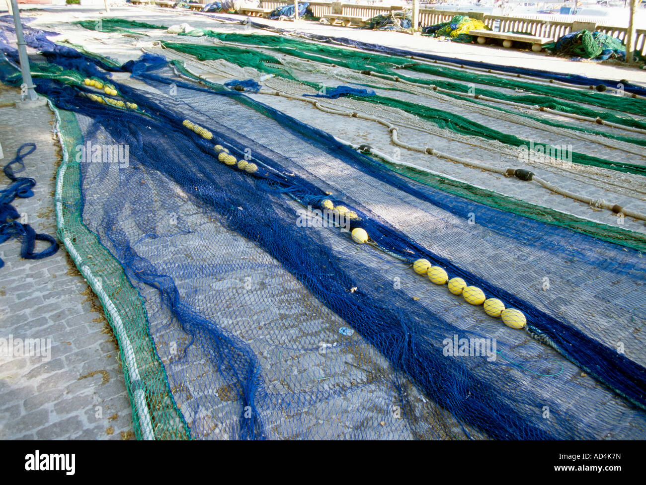 Fishing nets laid out - Stock Image