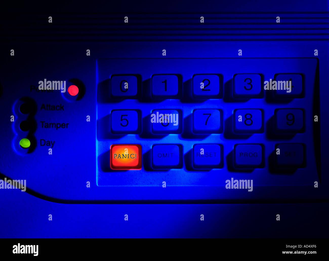 Burglar Alarm Control Panel Stock Photos Keypad With Panic Button Illuminated Image
