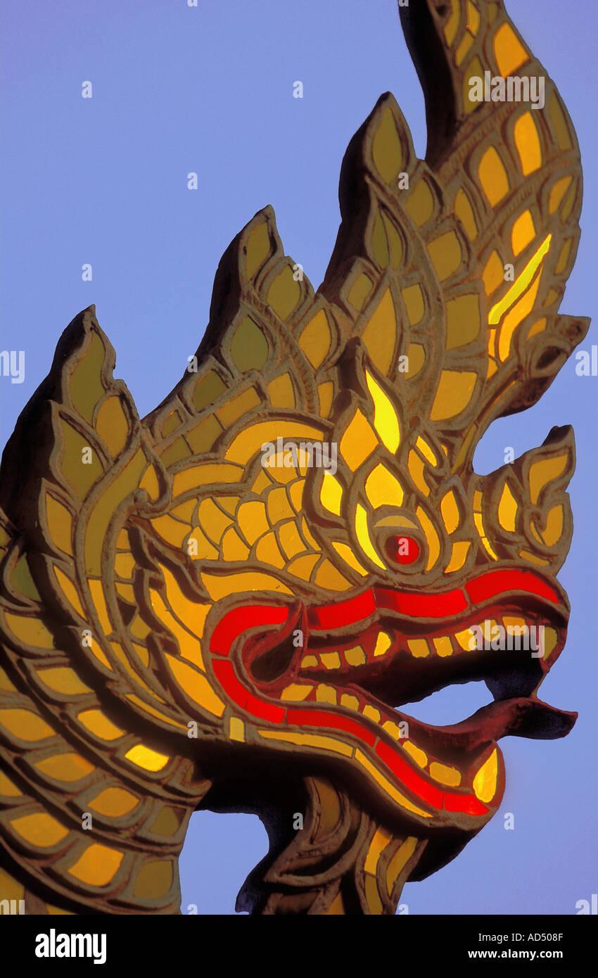 Guardian dragon at a temple Wat at Chiang Mai Northern Thailand - Stock Image