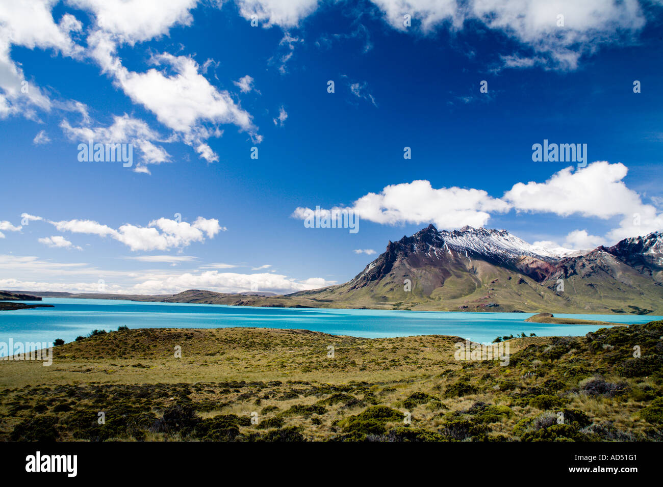 Cerro Mie and lake Belgrano - Stock Image