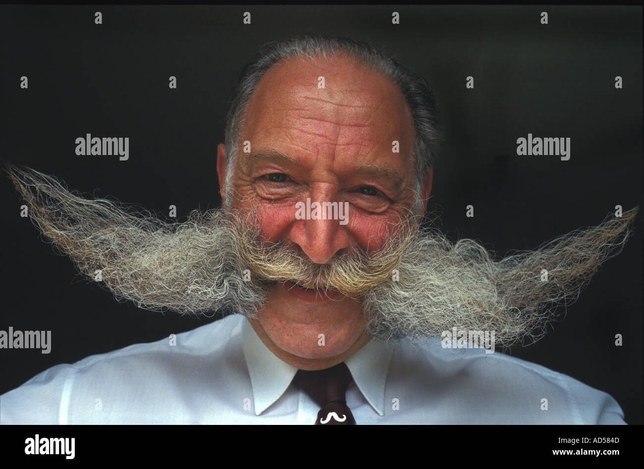 Mr Moustache (Mike Solomons) owner of the largest moustache in the U K - Stock Image