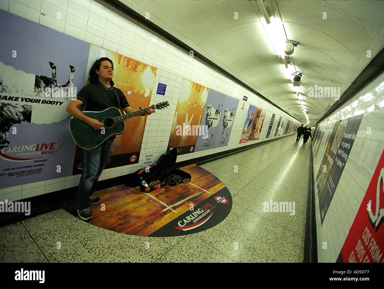 An official busker on the London Underground Britain UK - Stock Image