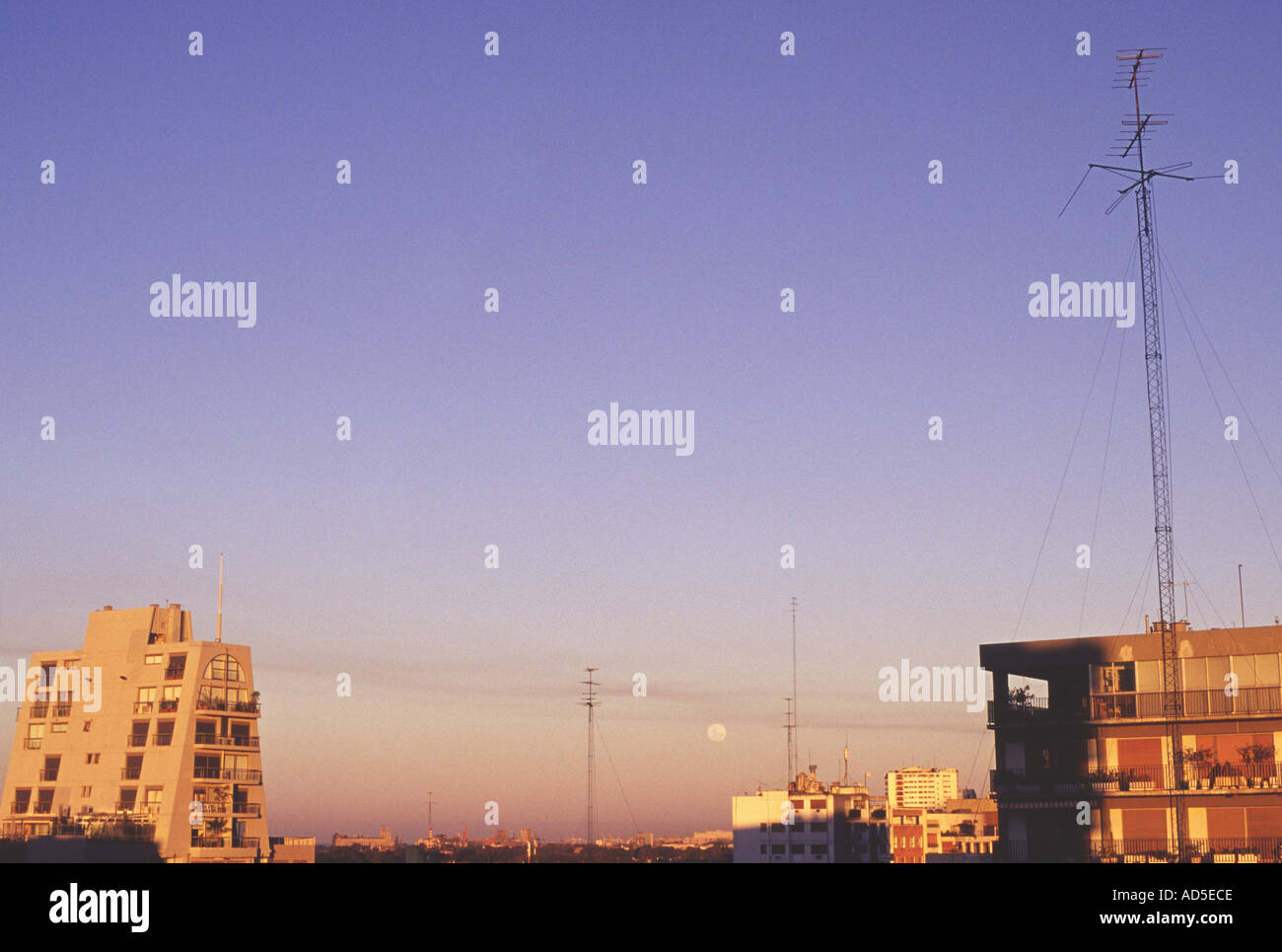 sky above Buenos Aires Argentina sunset in Belgrano looking east - Stock Image