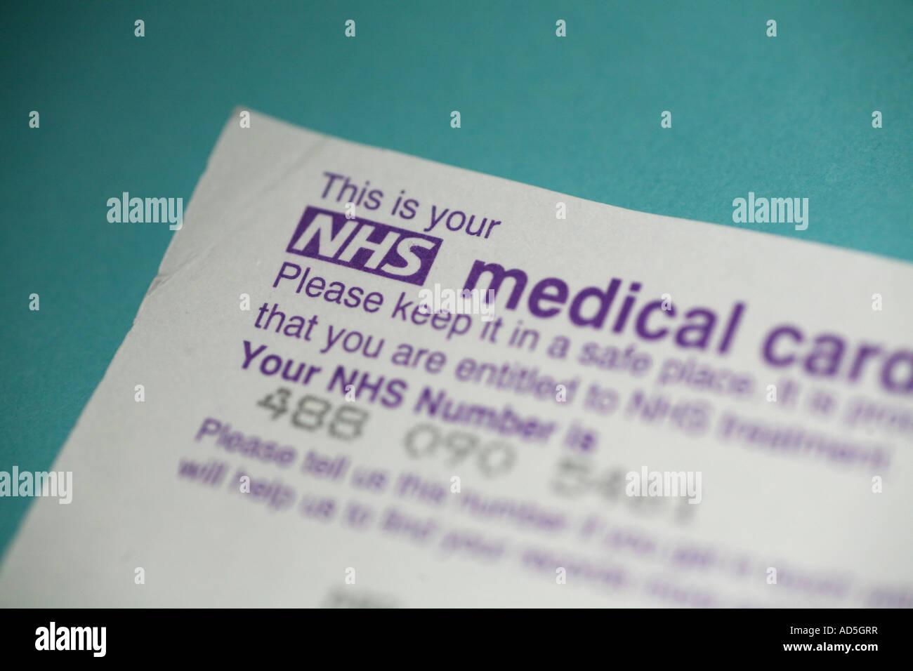 NHS medical card - Stock Image
